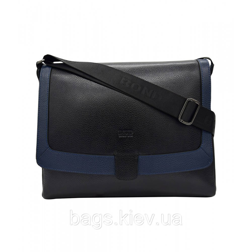 Портфель мягкий кожаный BOND 1123-281-1170 черный синий