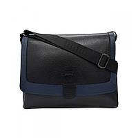 Портфель мягкий кожаный BOND 1123-281-1170 черный синий, фото 1