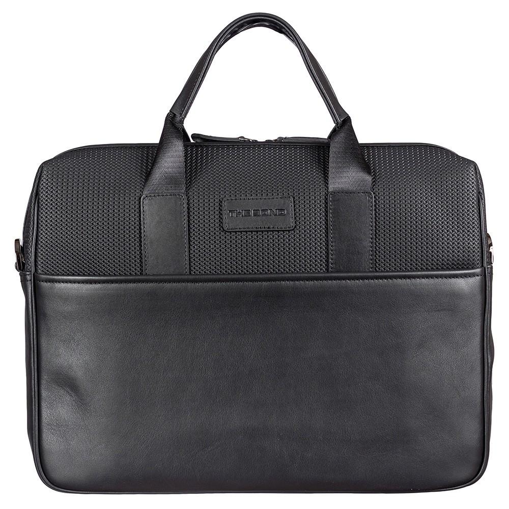 Портфель мягкий кожаный BOND 1173-50 черный