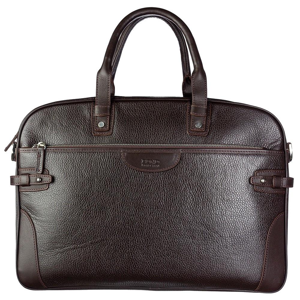 Портфель мягкий кожаный BOND 1209-286 коричневый
