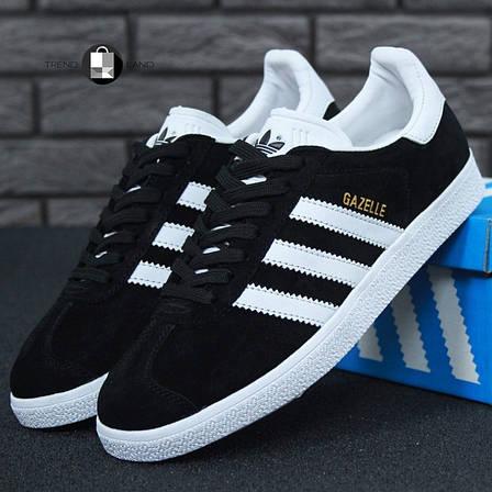 Женские кроссовки в стиле Adidas Gazelle Black Suede, фото 2
