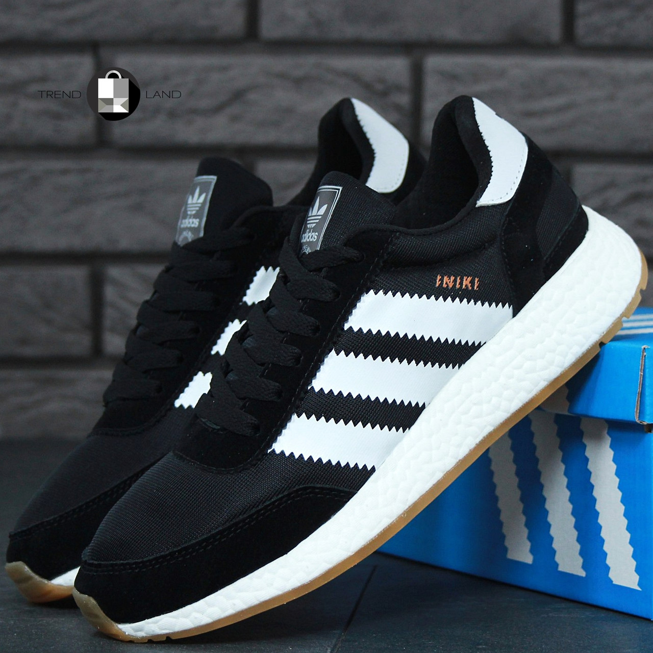 Мужские кроссовки в стиле Adidas Iniki Black\White
