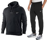 Мужской теплый спортивный костюм (кофта, штаны) Nike черный кенгуру