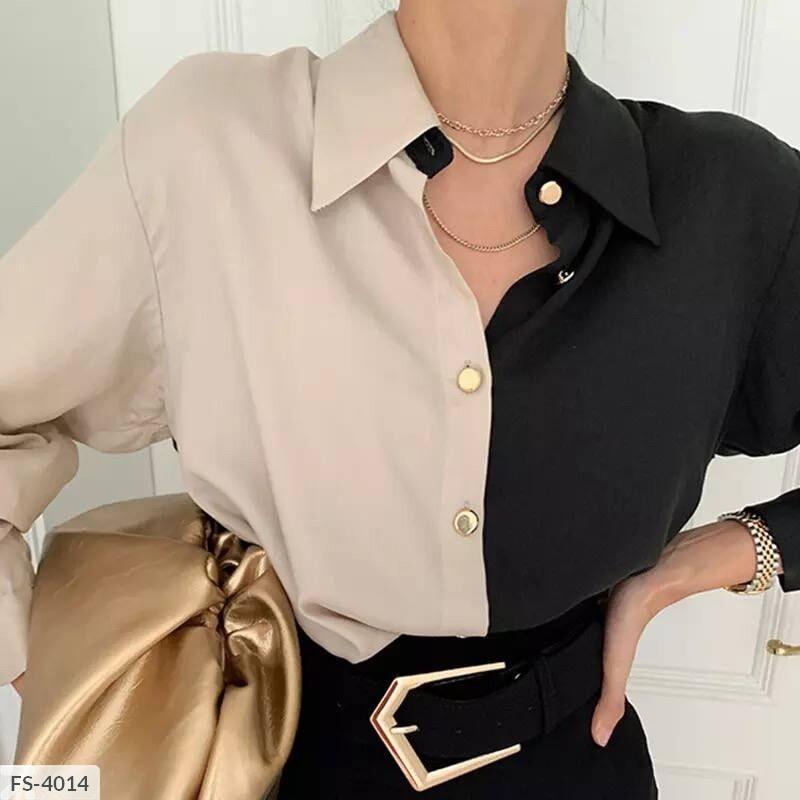 Жіноча шовкова сорочка двоколірна