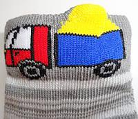 Шкарпетки дитячі демісезонні сірого кольору, об'ємний малюнок, р. 8-10
