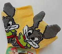 Носки детские демисезонные жёлтого цвета, объёмный рисунок, р.8-10