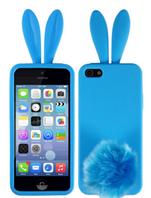 """Силиконовый чехол голубой """"Зайчик Rabito"""" для Iphone 5/5S"""