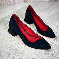 Женские замшевые туфли на каблуке 36-40 р чёрный, фото 1