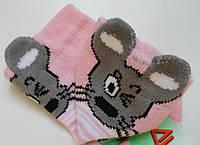 Шкарпетки дитячі демісезонні рожевого кольору, об'ємний малюнок, р. 8-10
