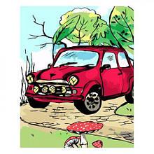 """Картина по номерам """"Красное нарисованное авто"""" ★★★★"""