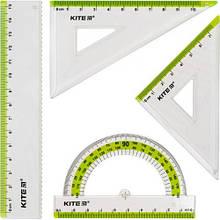 37475 [K17-280-09] Набір: лінійка 15 см, 2 кос., трансп. (салат.смуга)