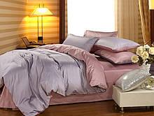 Комплект постільної білизни сімейний Bella Villa сатин сіро-бордовий