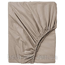 Простынь на резинке Bella Villa сатин 160х200+25 см бежевая