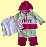 """Комплект одежды для новорожденной """"Мы-здоровая семья"""": кофточка с капюшоном, гольфик, штанишки, 3-6м"""