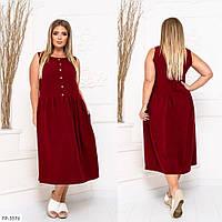 Однотонне стильне креповое сукня вільного крою на кожен день довжини міді р: 48-50, 52-54, 56-58 арт. 5013