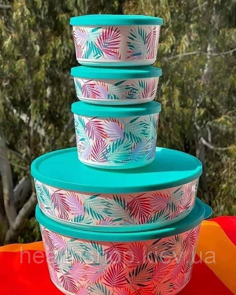Набор контейнеров Иллюмина Тропикана 5 шт (350 мл, 550 мл, 800 мл, 2,5л, 4,3 л) Tupperware