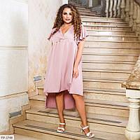 Красиве асиметричне плаття вільного крою з завищеною талією Розмір: 50-56, 58-64 арт. 5512