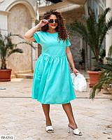 Однотонне повсякденне літній натуральне лляне плаття Розмір: 48-50, 52-54, 56-58, 60-62 арт. 7711