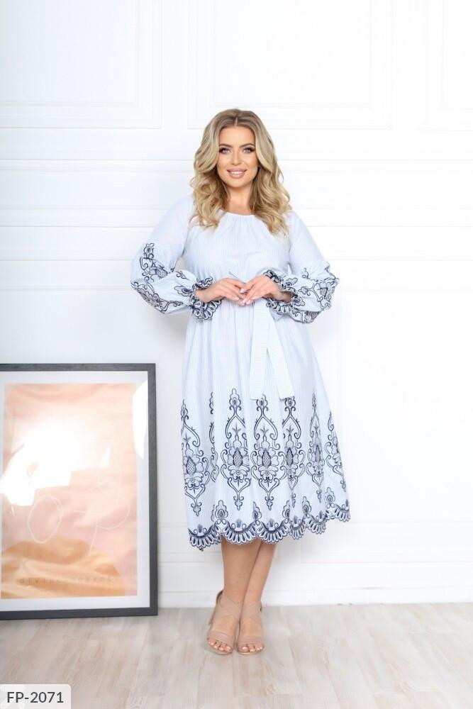 Романтичне зручне легке ажурне розкльошені сукні з вишивкою під пояс Розмір: 50-52, 54-56 арт. р15342