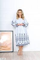 Романтичне зручне легке ажурне розкльошені сукні з вишивкою під пояс Розмір: 50-52, 54-56 арт. р15342, фото 1