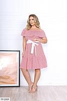 Красиве літнє плаття вільного крою в клітку з воланом під поясок Розмір: 50-52, 54-56 арт. р1574/1