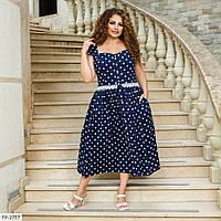 Романтичне вільний розкльошені коттоновое плаття в горошок довжини міді Розмір: 50, 52, 54 арт. 2198