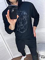 Чоловічий спортивний костюм зі штанами і свитшотом з двунити з капюшоном, фото 4