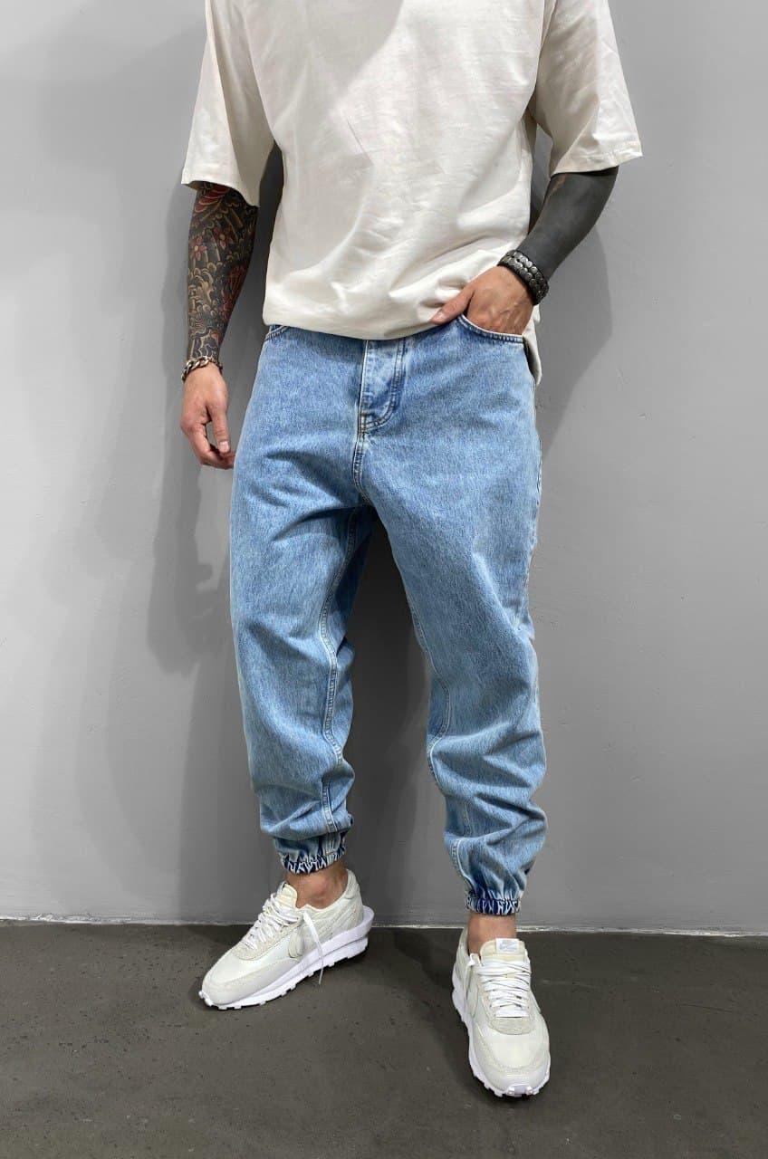 Джинси - Чоловічі блакитні джинси широкі / чоловічі джинси голубі широкі на резинці внизу