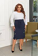 Жіночий стильний костюм двійка (Спідниця міді з поясом із тканини і Блузка)