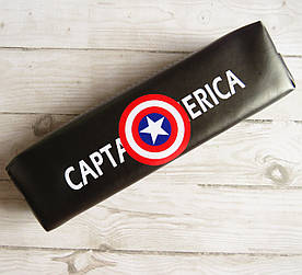 Школьный пенал косметичка кожзам для мальчика, Капитан Америка