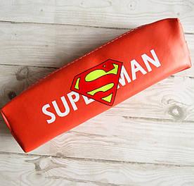 Школьный пенал косметичка кожзам для мальчика, Супермен