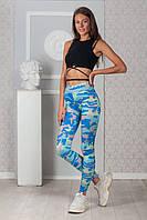 Женские лосины голубой камуфляж SKL92-314947