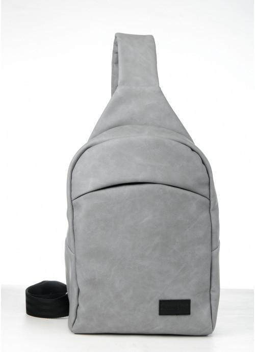 Cумка через плечо слинг Sambag Brooklyn MQH светло-серый нубук