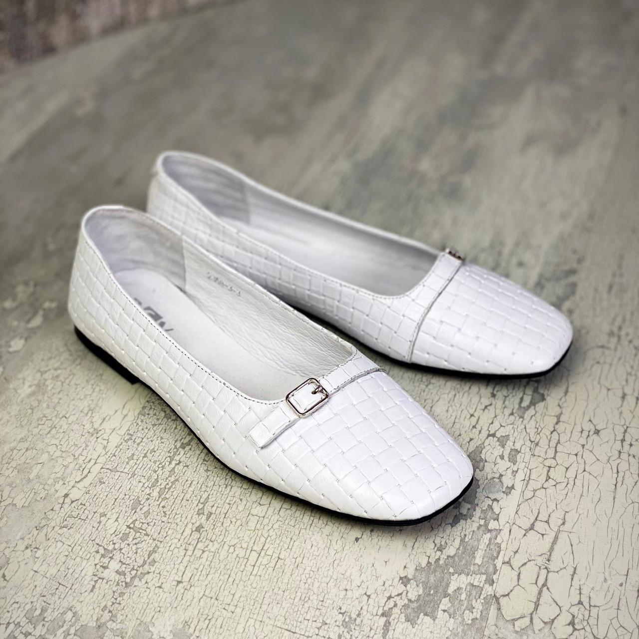 Женские кожаные туфли на низком ходу 36-40 р белый