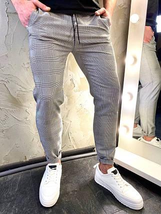 Штани чоловічі сірі в клітку. Стильні чоловічі завужені штани сірого кольору в клітку., фото 2