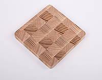 Подставка под чашку, бокал, кружку (костер, бирдекель) деревянная, размер 9х9х1 см.