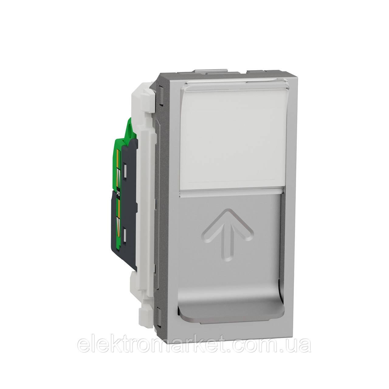 Розетка комп'ютерна RJ45, одинарна категорія 5 UTP, 1 модуль, алюміній