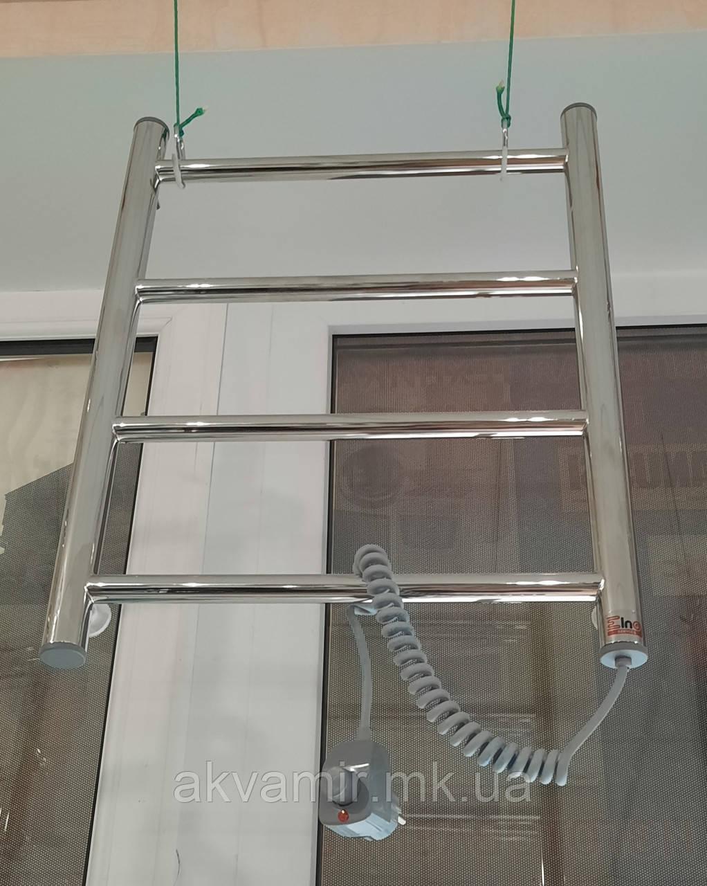 Полотенцесушитель Драбинка-4 505х400 мм нержавійка з регулятором температури