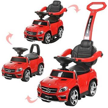 Детская машинка-толокар с родительской ручкой Машинка каталка Mercedes красная Каталка-толокар с звуком