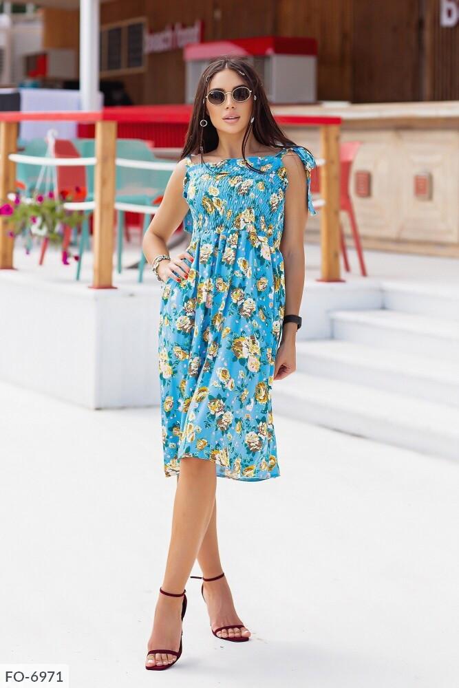 Летнее прогулочное платье расклешенная юбка за колено с завышенной талией р-ры 42-46 арт. 509