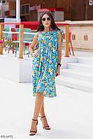 Летнее прогулочное платье расклешенная юбка за колено с завышенной талией р-ры 42-46 арт. 509, фото 1