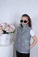 Демисезонная подростковая светоотражающая жилетка PUMA для девочек 9-14 лет,серого цвета