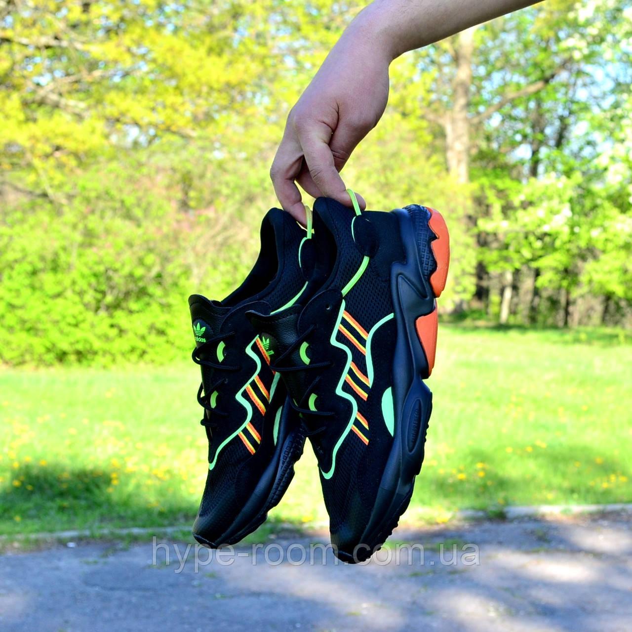 Мужские Кроссовки Adidas Ozweego Black Green Orange адидас озвего черные чоловічі кросівки адідас чорні озвіго
