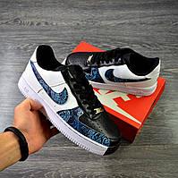 Nike Air Force 1 money flowers custom Чоловічі Кросівки найк аір форс чорно білі чоловічі кросівки аір чорно, фото 1
