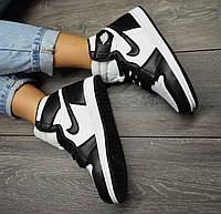 Женские Кроссовки Nike Air Jordan Retro 1 Black White найк аир джордан ретро бело черные жіночі кросівки аір