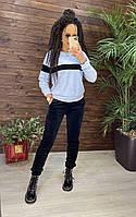 Женский велюровый костюм двухцветный рр 48-50