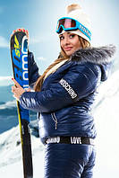 """Женский костюм лыжный """"Москино"""" большие размеры синий"""