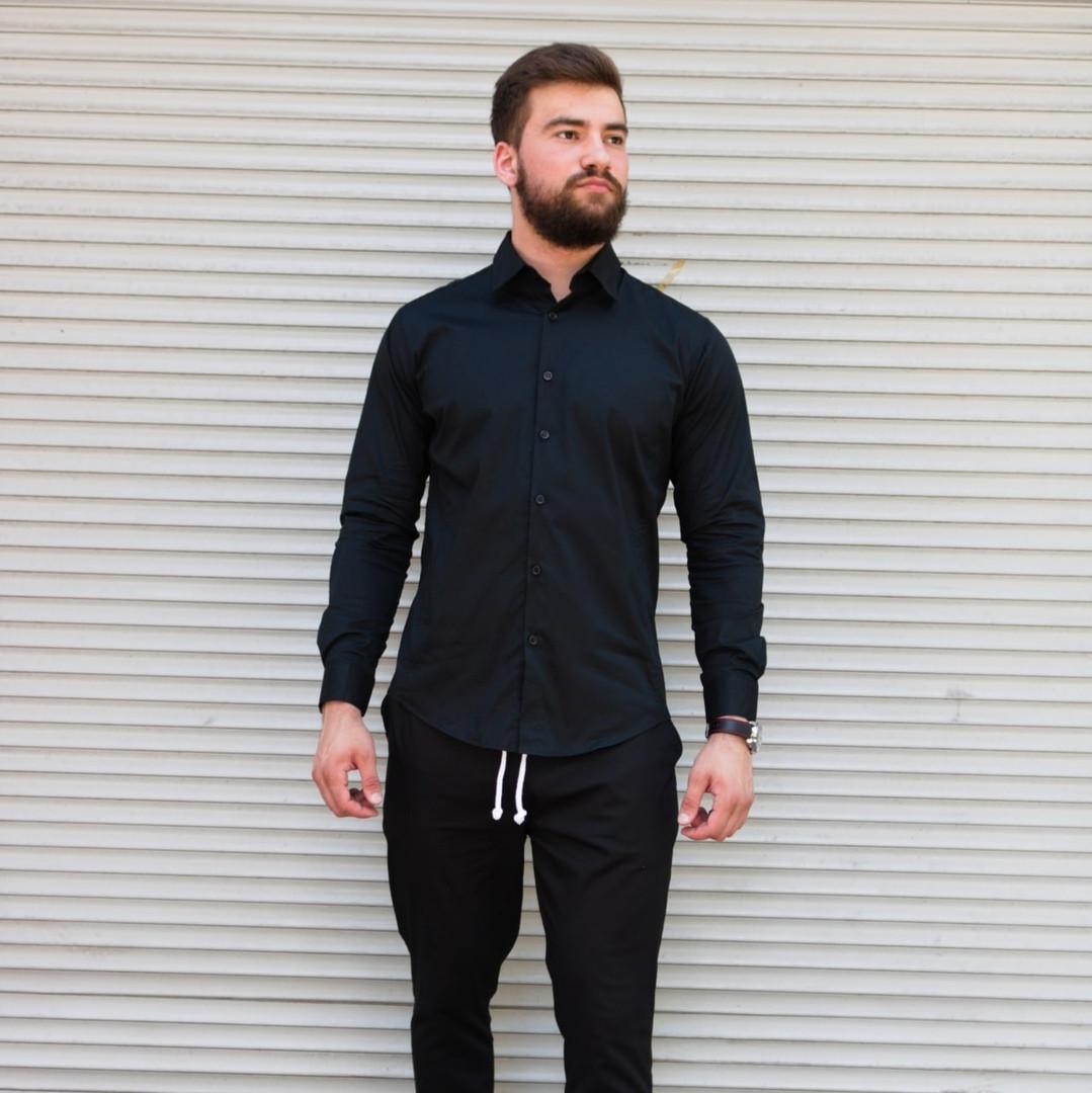 Сорочка чоловіча чорна і біла приталені Сл 2042