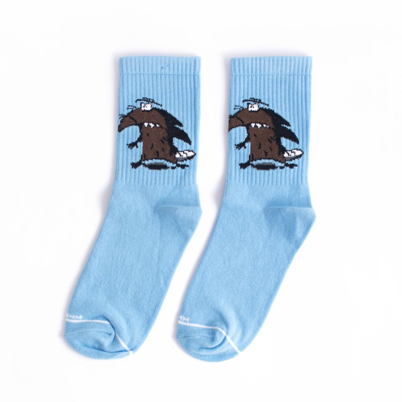 """Ароматизированный носки высокие с принтом """"Бобры"""" Premium Голубые"""
