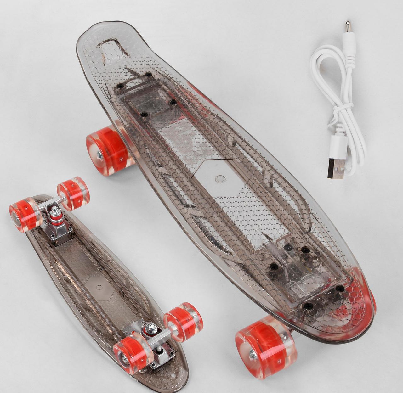Пластиковий скейт пенні з різнокольоровою підсвіткою і вбудованою батареєю, заряджається від мережі S-40133 Best Board